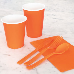 Pumpkin Orange Solid 9oz Paper Cups, 14ct