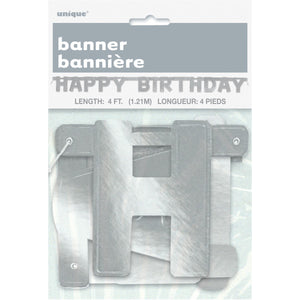 Happy Birthday Silver Deluxe Jointed Banner