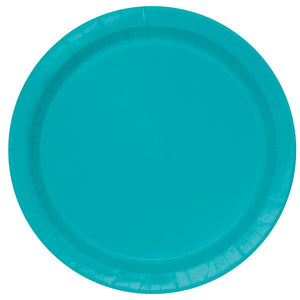 "Caribbean Teal Solid Round 9"" Dinner Plates, 16ct"