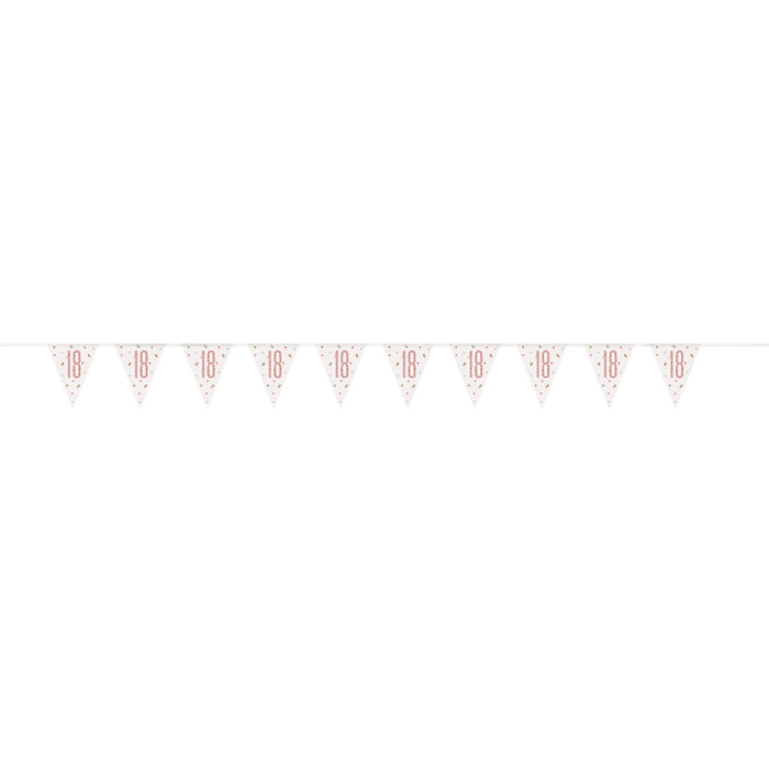 Birthday Rose Gold Glitz Number 18 Prism Pennant Banner, 9 ft
