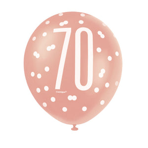 "6 12"" Rose Gold Latex Balloons 70"