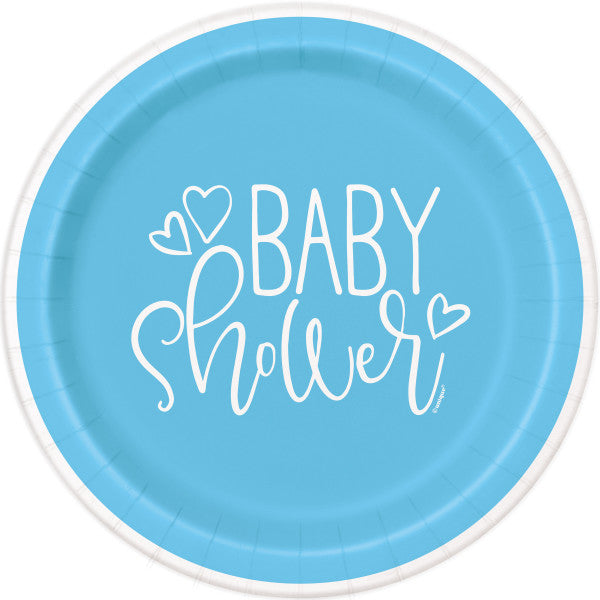"Blue Hearts Baby Shower Round 9"" Dinner Plates, 8ct"