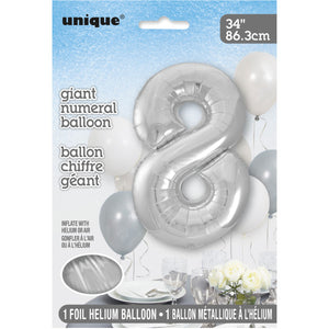 "Silver Number 8 Shaped Foil Balloon 34"", Packaged"