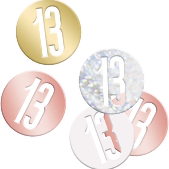 Birthday Rose Gold Glitz Number 13 Confetti, .5oz