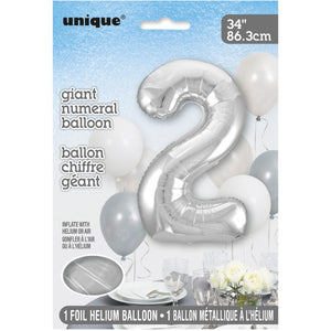 "Silver Number 2 Shaped Foil Balloon 34"", Packaged"
