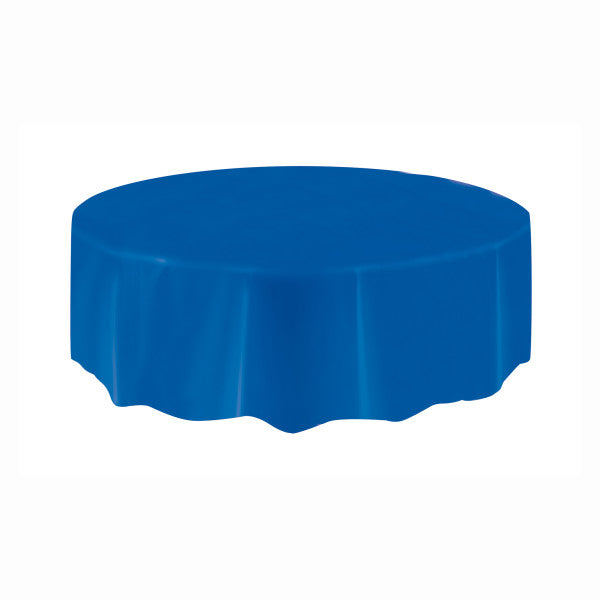 Royal Blue Solid Round Plastic Table Cover, 84""