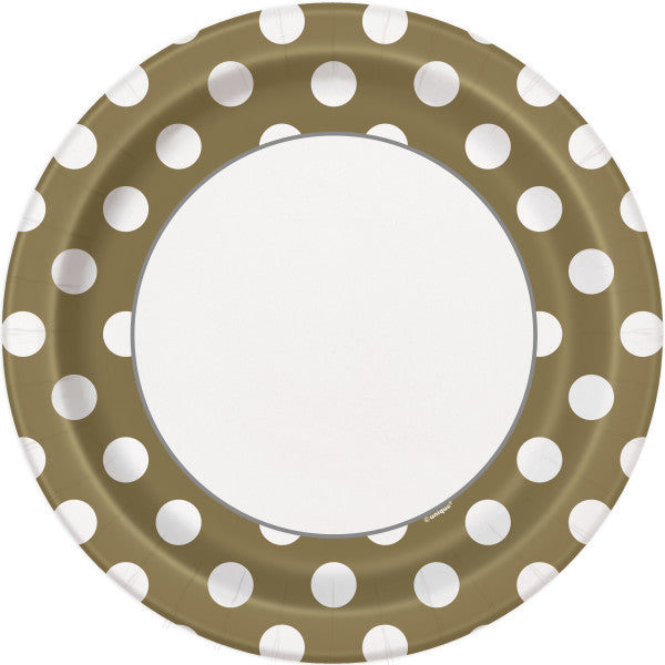 "Gold Dots Round 9"" Dinner Plates, 8ct"