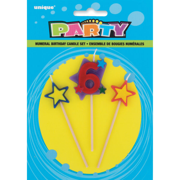Number 6 Star Birthday Candles Set