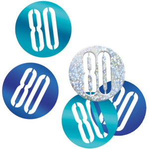 Birthday Blue Glitz Number 80 Confetti, .5oz