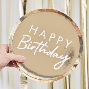 Ginger Ray -  Gold Foiled Happy Birthday Plate