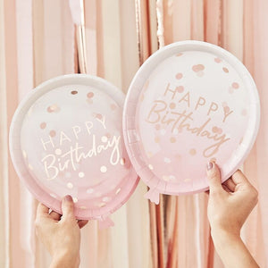 Ginger Ray -  Rose Gold Foiled Confetti Balloon Shaped Plates Pack