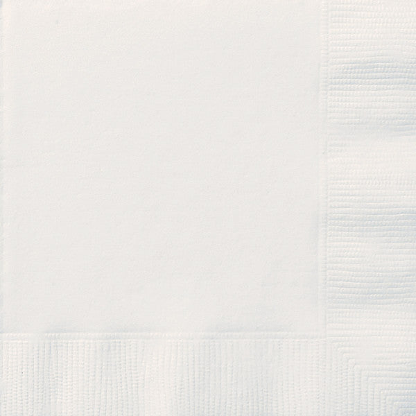 White Solid Beverage Napkins, 20ct
