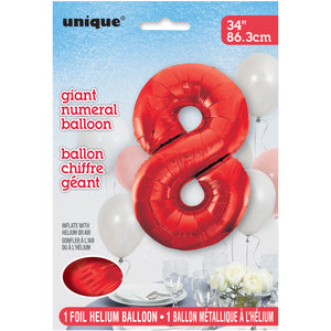 "Red Number 8 Shaped Foil Balloon 34"", Packaged"