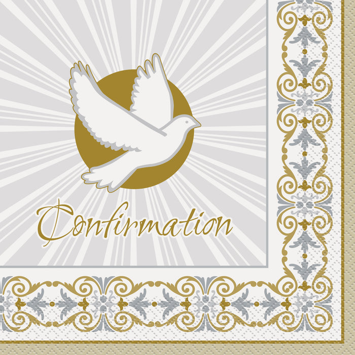"Gold & Silver Radiant Cross ""Confirmation"" Luncheon Napkins, 16ct"
