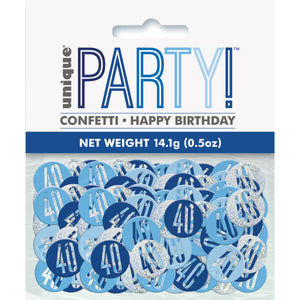 Birthday Blue Glitz Number 40 Confetti, .5oz