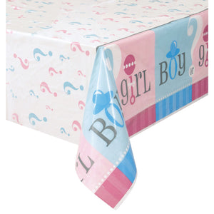 "Gender Reveal Rectangular Plastic Table Cover, 54""x84"""