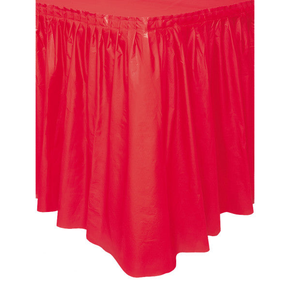 "Red Solid Plastic Table Skirt, 29""x14ft"