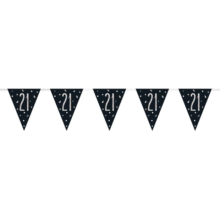Birthday Black Glitz Number 21 Flag Banner, 9 ft