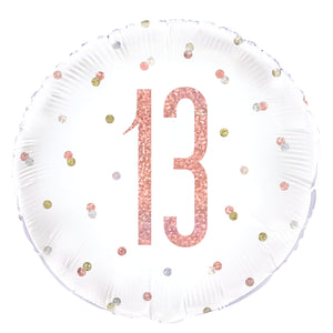 "Birthday Rose Gold Glitz Number 13 Round Foil Balloon 18"", Packaged"