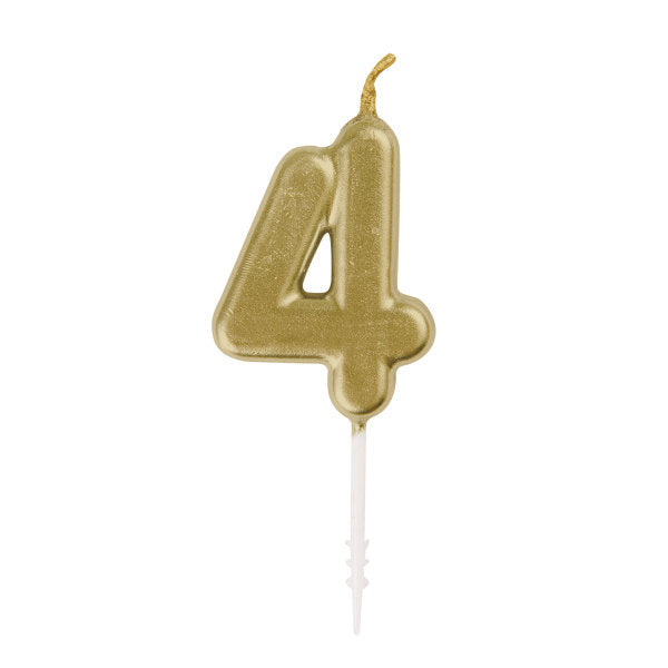Mini Gold Number 4 Pick Birthday Candle