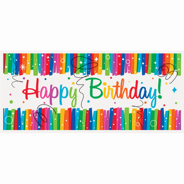 "Rainbow Ribbons Birthday Wall Banner, 60"" x 27"""