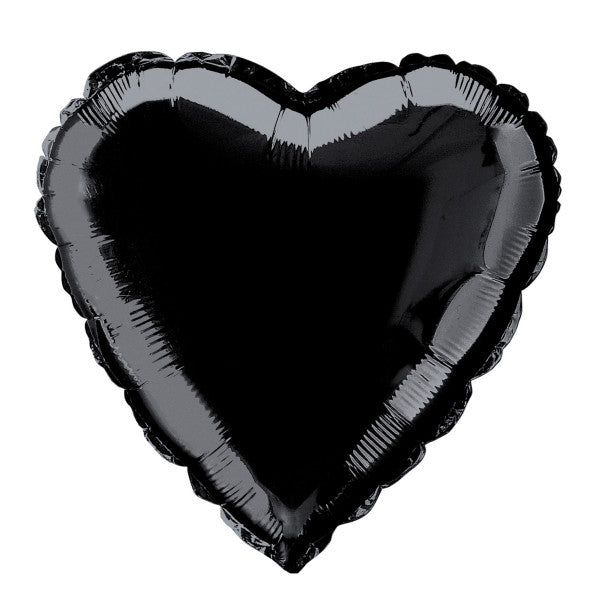 "Solid Heart Foil Balloon 18"", Packaged - Black"