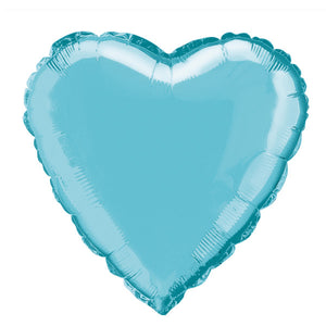 "Solid Heart Foil Balloon 18"", Packaged - Baby Blue"
