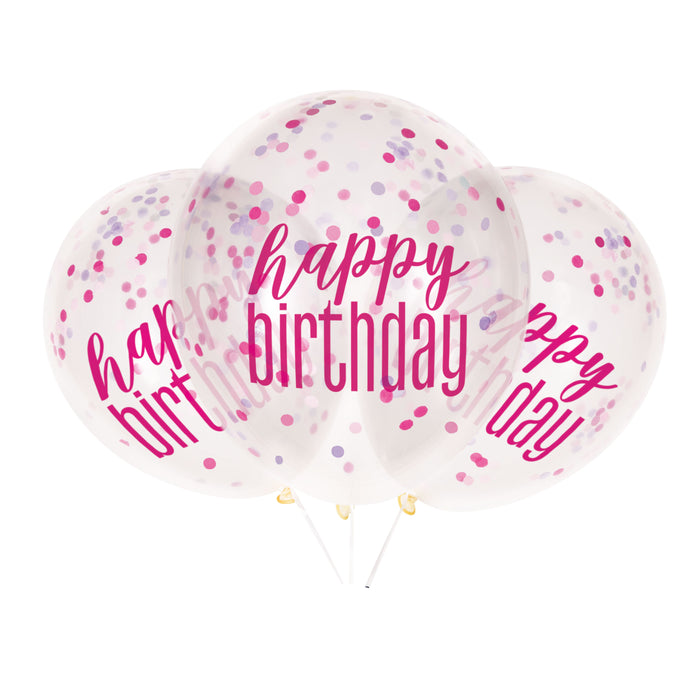 "6 12"" Clear Printed Glitz ""Happy Birthday"" Balloons with Confetti, Pink & Silver"