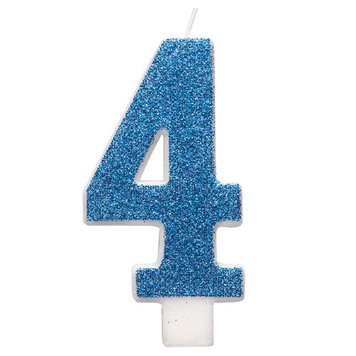 Blue Glitz Glitter Number 4 Birthday Candle