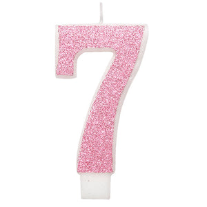 Pink Glitz Glitter Number 7 Birthday Candle