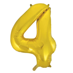 "Gold Number 4 Shaped Foil Balloon 34"", Packaged"