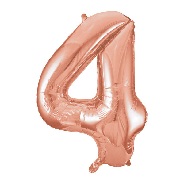 Rose Gold Number 4 Shaped Foil Balloon 34""