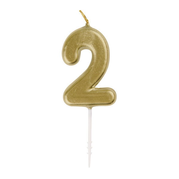 Mini Gold Number 2 Pick Birthday Candle