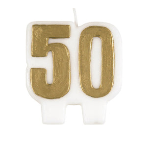 Number 50 Birthday Candle - Gold
