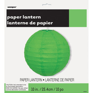 "Lime Green Solid 10"" Round Lantern"