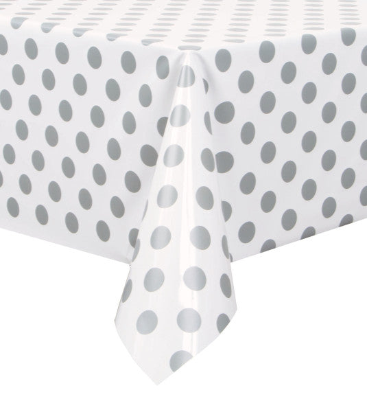 "Silver Dots Rectangular Plastic Table Cover, 54""x108"""