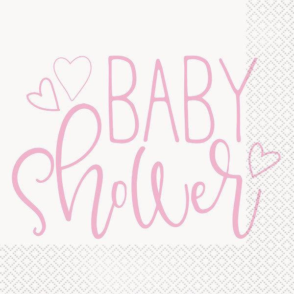 Pink Hearts Baby Shower Luncheon Napkins, 16ct