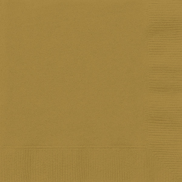 Gold Solid Beverage Napkins, 20ct