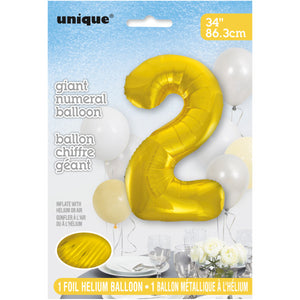 "Gold Number 2 Shaped Foil Balloon 34"", Packaged"