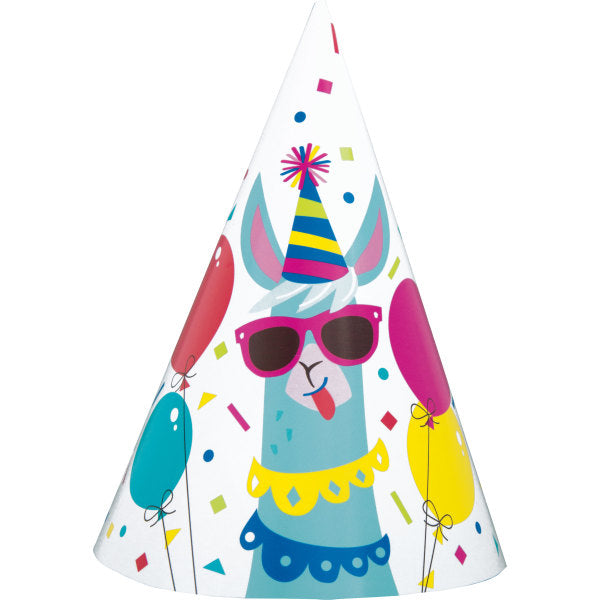 Llama Birthday Party Hats, 8ct