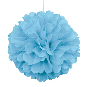 "Powder Blue Solid 16"" Hanging Tissue Pom Pom"