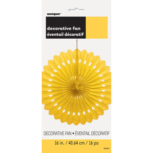 "Sunflower Yellow Solid 16"" Tissue Paper Fan"