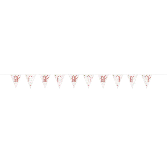 "Age ""60"" Glitz Rose Gold Prismatic Plastic Flag Banner (9ft)"