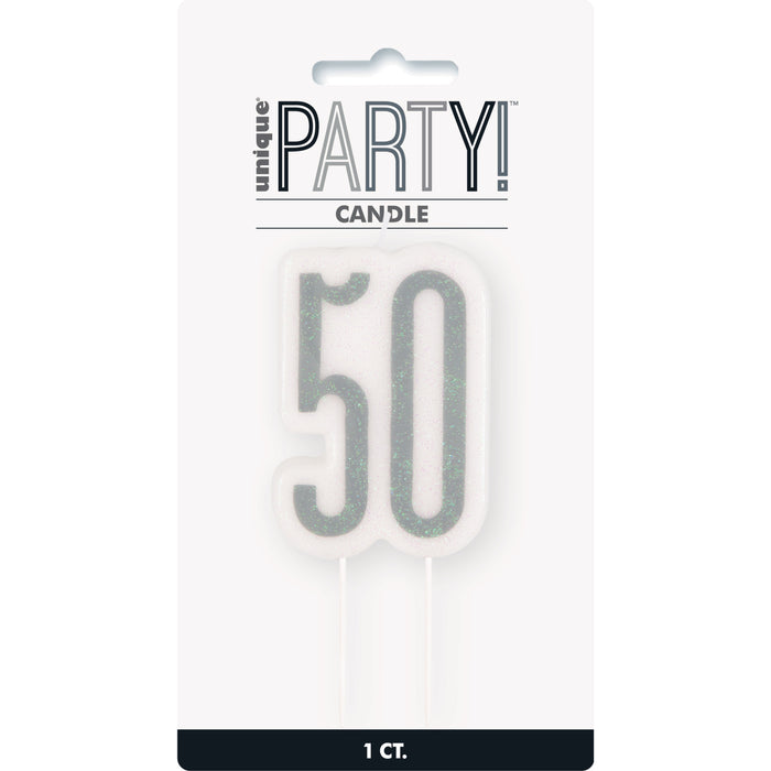 Glitz Black Numeral Birthday Candle 50