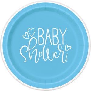 "Blue Hearts Baby Shower Round 7"" Dessert Plates, 8ct"