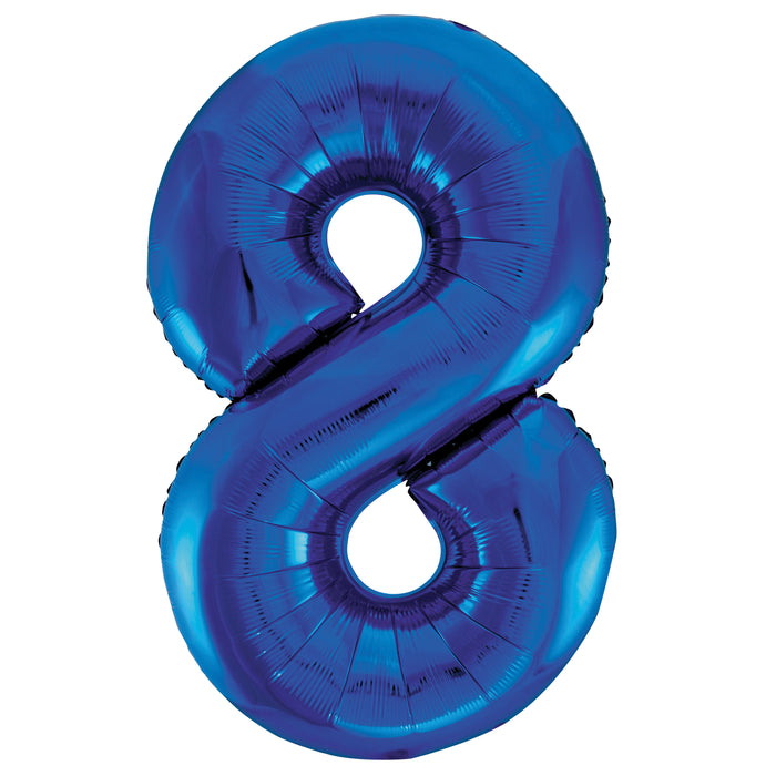 "Blue Number 8 Shaped Foil Balloon 34"", Packaged"