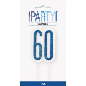 Glitz Blue Numeral Birthday Candle 60