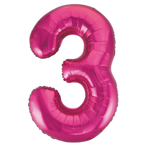 "Pink Number 3 Shaped Foil Balloon 34"", Packaged"