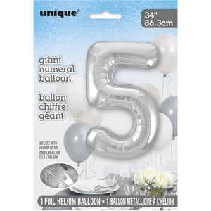 "Silver Number 5 Shaped Foil Balloon 34"", Packaged"