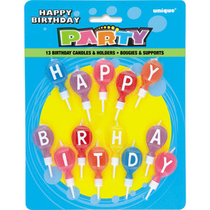 Happy Birthday Round Letter Candles in Holders